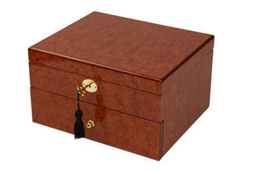 Burlwood Finish Watch Box Chest for 20 Watches-Red Orange