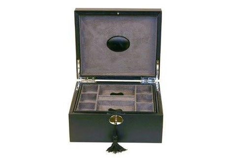 Black Leather Dresser Organizer Watch and Jewelry Box for 3 Watches