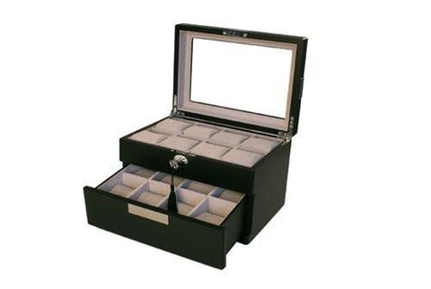 Black Matte Finish Watch Box Storage Compartment for 16 Watches
