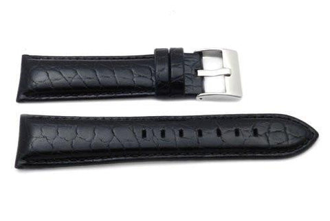 Genuine Leather Alligator Grain Thick Padding Matching Stitching Watch Strap