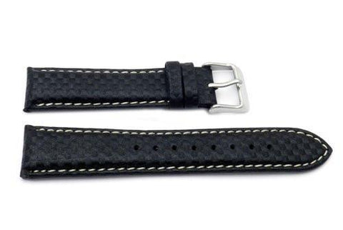 Genuine Italian Calfskin Leather Checkered Matte Pattern White Stitching Watch Band
