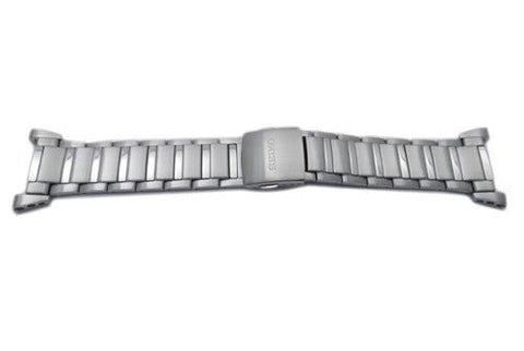 Seiko Sportura Silver Tone Stainless Steel 22mm Fold-Over Push Button Clasp Watch Bracelet