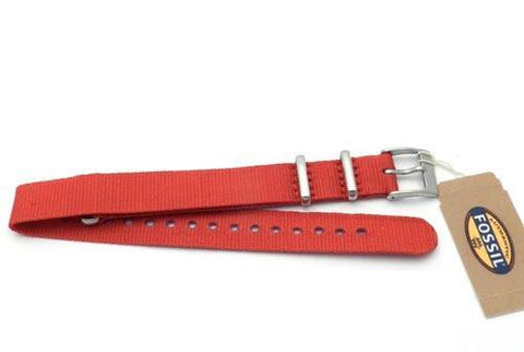 Fossil Long Red Nylon 14mm Watch Strap
