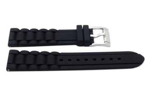Fossil Black Silicone Link Style 18mm Watch Strap