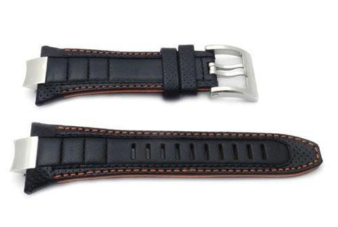 Seiko Sportura Black Leather Orange Stitching and Lining 32mm Watch Strap
