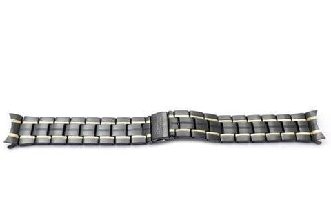 Seiko Dual Tone Black and Gold 19mm Stainless Steel Push Button Fold-Over Clasp Watch Bracelet