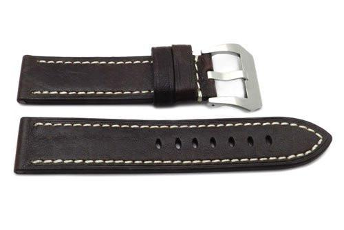 Genuine Textured Leather Anti-Allergic Dark Brown Panerai Watch Band