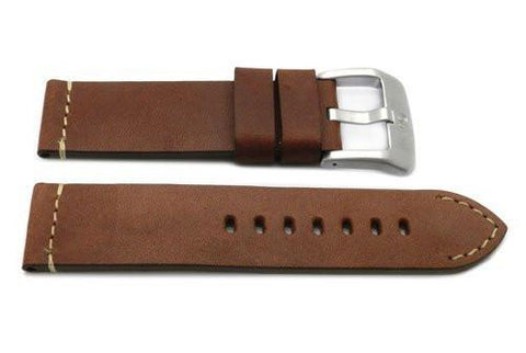 Genuine Smooth Leather Anti-Allergic Brown Panerai Watch Strap