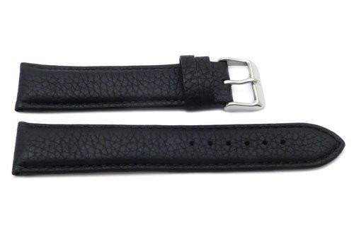 Genuine Textured Leather Anti-Allergic Extra Long Black Watch Strap