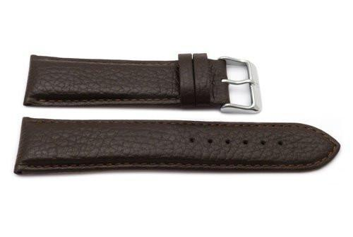 Genuine Textured Leather Anti-Allergic Extra Long Brown Watch Band