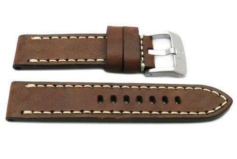 Genuine Smooth Leather Anti-Allergic Brown Panerai Watch Band