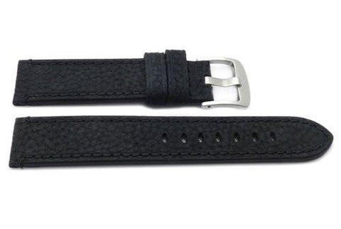Genuine Textured Leather Anti-Allergic Black Watch Band