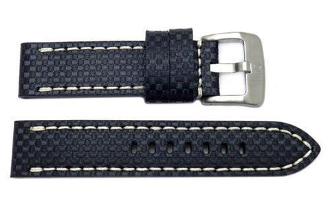 Genuine Carbon Fiber Leather Anti-Allergic Black Panerai Watch Strap