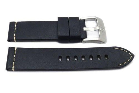 Genuine Smooth Leather Anti-Allergic Black Panerai Watch Band