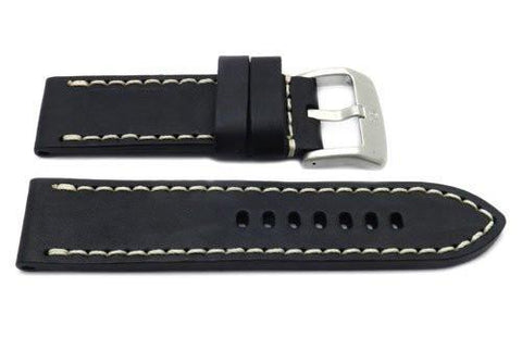 Genuine Smooth Leather Anti-Allergic Black Panerai Watch Strap