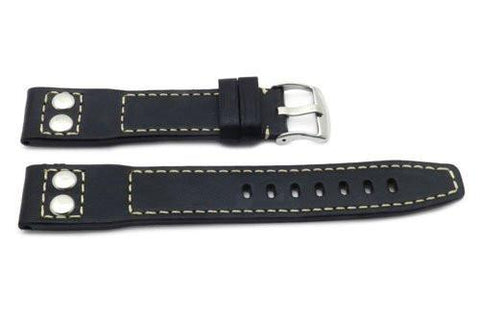 Genuine Smooth Leather Rivet Anti-Allergic Black Watch Strap