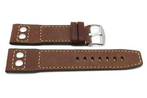 Genuine Smooth Leather Rivet Anti-Allergic Brown Watch Band