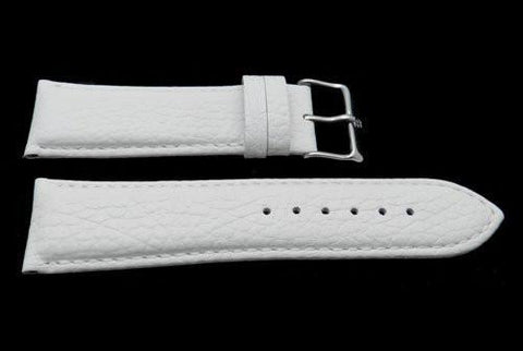 Genuine Textured Leather Anti-Allergic White Watch Strap