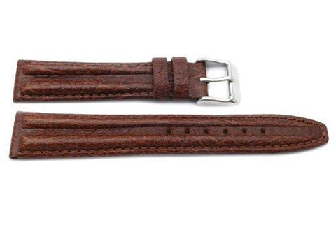 Genuine Textured Sport Leather Anti-Allergic Brown Watch Strap