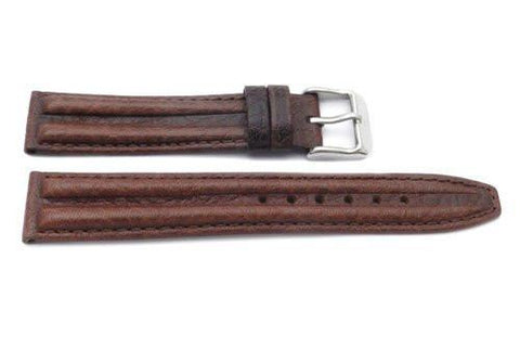 Genuine Textured Sport Leather Anti-Allergic Dark Brown Watch Strap