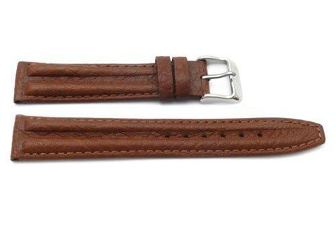 Genuine Textured Sport Leather Anti-Allergic Camel Watch Strap