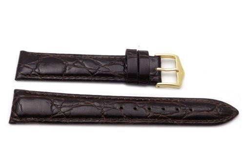 Genuine Textured Leather Crocodile Grain Anti-Allergic Dark Brown Glossy Watch Strap