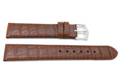 Genuine Textured Leather Alligator Grain Anti-Allergic Cognac Watch Strap