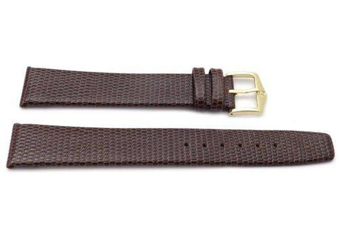 Genuine Textured Leather Lizard Grain Anti-Allergic Brown Extra Long Watch Band