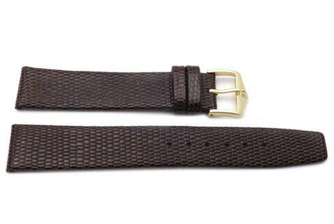 Genuine Textured Leather Lizard Grain Anti-Allergic Brown Watch Strap