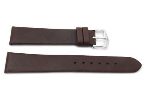 Genuine Smooth Leather Anti-Allergic Brown Watch Band