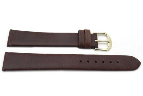 Genuine Smooth Leather Anti-Allergic Brown Extra Long Watch Band