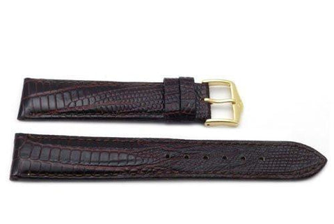 Genuine Textured Leather Lizard Grain Anti-Allergic Dark Brown Watch Band