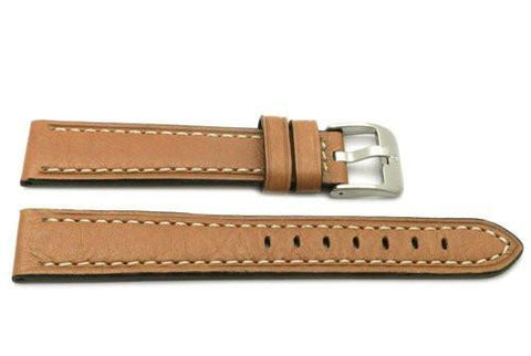 Genuine Textured Leather Anti-Allergic Tan Watch Strap
