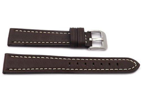 Genuine Textured Leather Anti-Allergic Brown Watch Band