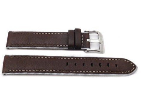 Genuine Textured Leather Anti-Allergic Grey Nylon Lining Brown Watch Band
