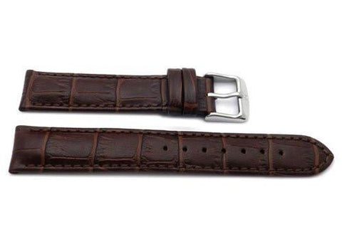 Genuine Textured Leather Alligator Grain Anti-Allergic Brown Watch Band
