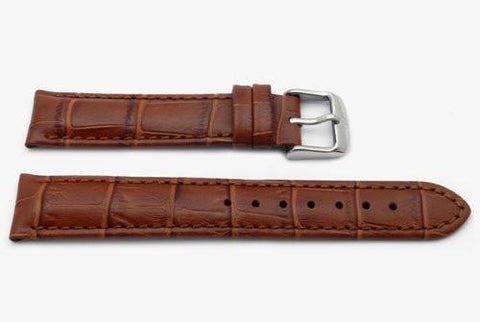 Genuine Textured Leather Alligator Grain Anti-Allergic Honey Watch Band