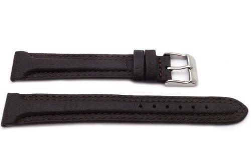 Genuine Textured Leather Anti-Allergic Dark Brown Double Stitched Extra Long Watch Strap
