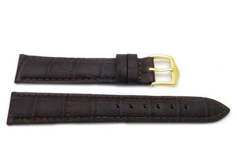 Genuine Textured Leather Alligator Grain Anti-Allergic Dark Brown Watch Strap