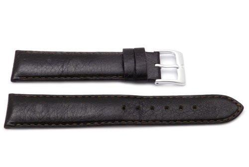 Genuine Textured Leather Anti-Allergic Dark Brown Semi-Gloss Watch Strap