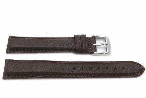 Genuine Textured Leather Anti-Allergic Dark Brown Watch Strap