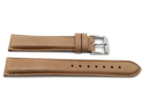 Genuine Smooth Leather Anti-Allergic Tan Watch Strap