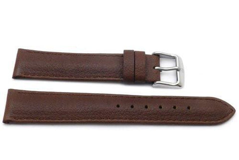 Genuine Textured Leather Anti-Allergic Brown Watch Strap