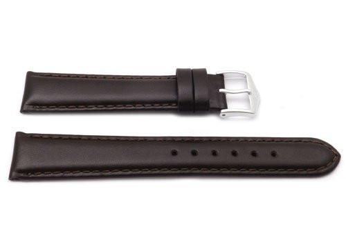 Genuine Smooth Leather Anti-Allergic Dark Brown Watch Band