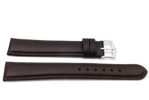 Genuine Smooth Leather Anti-Allergic Dark Brown Extra Long Watch Band