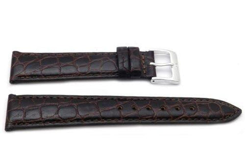 Genuine Textured Leather Crocodile Grain Anti-Allergic Brown Watch Band