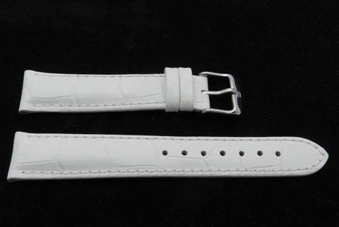 Genuine Textured Leather Crocodile Grain Anti-Allergic White Watch Band
