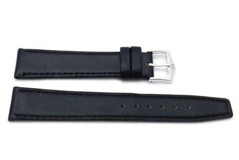 Genuine Smooth Leather Square Tip Anti-Allergic Black Watch Band