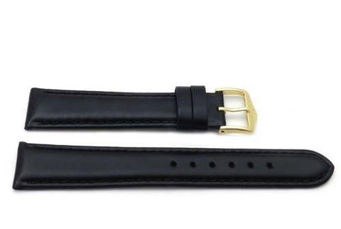 Genuine Smooth Leather Anti-Allergic Black Watch Strap