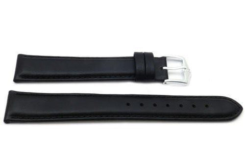 Genuine Smooth Leather Anti-Allergic Black Extra Long Watch Band